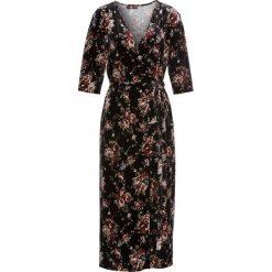 Długie sukienki: Sukienka aksamitna bonprix czarny z nadrukiem