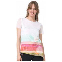 Desigual T-Shirt Damski Asimetric Polynesia S Biały. Szare t-shirty damskie marki Desigual, l, z tkaniny, casualowe, z długim rękawem. W wyprzedaży za 229,00 zł.