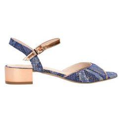 Sandały damskie: Skórzane sandały w kolorze granatowo-miedzianym