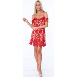 Koktajlowa sukienka z koronki czerwona ZZ313. Niebieskie sukienki marki Mohito. Za 89,00 zł.