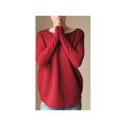 Wąski gruby rękaw bordowy bluza oversize. Czerwone długie bluzy damskie One mug a day, z bawełny. Za 189,00 zł.