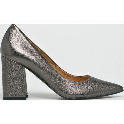 Solo Femme - Czółenka. Czarne buty ślubne damskie marki Kazar, ze skóry, na niskim obcasie, na obcasie. W wyprzedaży za 299,90 zł.
