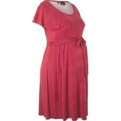 Sukienka ciążowa bonprix czerwono-pomarańczowy w groszki. Czerwone sukienki ciążowe marki bonprix, na lato, w grochy, z dzianiny, z podwójnym kołnierzykiem, moda ciążowa, dopasowane. Za 109,99 zł.