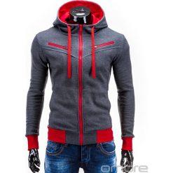BLUZA MĘSKA ROZPINANA Z KAPTUREM AMIGO - GRAFITOWO-CZERWONA. Czerwone bejsbolówki męskie Ombre Clothing, m, z bawełny, z kapturem. Za 75,00 zł.