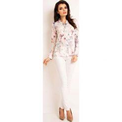Jasna Wzorzysta Koszulowa Bluzka z Dekoltem w Szpic. Białe bluzki asymetryczne Molly.pl, l, w kwiaty, z tkaniny, z koszulowym kołnierzykiem, z długim rękawem. Za 99,90 zł.