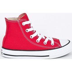 Converse - Trampki dziecięce. Szare buty sportowe dziewczęce Converse, z materiału, z okrągłym noskiem, na sznurówki. W wyprzedaży za 179,90 zł.