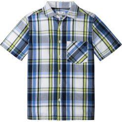 Koszula z krótkim rękawem i nadrukiem bonprix ciemnoniebiesko-zielony w kratę. Niebieskie bluzki dziewczęce z krótkim rękawem bonprix, m, z nadrukiem, z klasycznym kołnierzykiem. Za 27,99 zł.