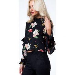 Bluzki asymetryczne: Bluzka w kwiaty czarna 21929
