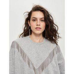 Bluzy rozpinane damskie: Bluza z frędzlami - Jasny szar