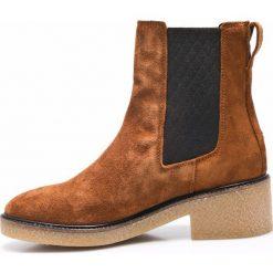 Tommy Hilfiger - Botki. Szare buty zimowe damskie marki TOMMY HILFIGER, m, z nadrukiem, z bawełny, casualowe, z okrągłym kołnierzem. W wyprzedaży za 359,90 zł.
