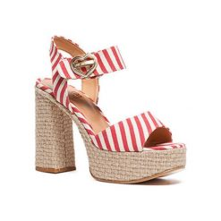 Sandały damskie: Sandały w kolorze biało-czerwonym