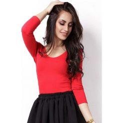 Czerwona Efektowna Bluzka Typu Basic z Dekoltem na Plecach. Czerwone bluzki longsleeves Molly.pl, l, w jednolite wzory, z tkaniny, wizytowe, z dekoltem na plecach. Za 89,90 zł.