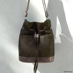 Torebki klasyczne damskie: YOCCA – torba worek – ciemnozielone khaki i brąz