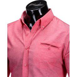 Koszule męskie na spinki: KOSZULA MĘSKA Z DŁUGIM RĘKAWEM K298 – KORALOWA