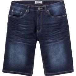 Bermudy dresowe w optyce dżinsu Regular Fit bonprix ciemnoniebieski. Niebieskie spodenki i szorty męskie bonprix, z dresówki. Za 89,99 zł.