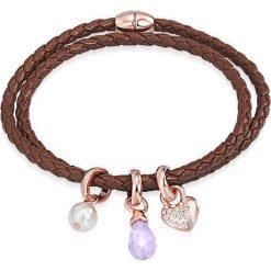 Bransoletki damskie: Skórzana bransoletka w kolorze brązowym z kryształami Swarovski