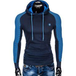 BLUZA MĘSKA Z KAPTUREM B821 - GRANATOWA/NIEBIESKA. Niebieskie bluzy męskie rozpinane marki Ombre Clothing, m, z bawełny, z kapturem. Za 65,00 zł.