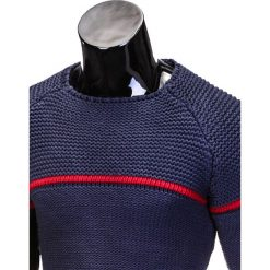 SWETER MĘSKI E102 - GRANATOWY. Zielone swetry klasyczne męskie marki Ombre Clothing, na zimę, m, z bawełny, z kapturem. Za 45,00 zł.