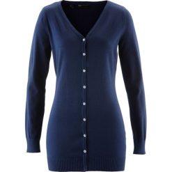 Długi sweter rozpinany bonprix ciemnoniebieski. Niebieskie kardigany damskie bonprix. Za 74,99 zł.