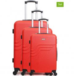 """Walizki (3 szt.) """"Queens"""" w kolorze czerwonym. Czerwone walizki American Travel, z materiału. W wyprzedaży za 434,95 zł."""