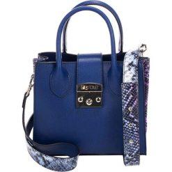 Torebki klasyczne damskie: Skórzana torebka w kolorze niebieskim – (S)23 x (W)30 x (G)11 cm