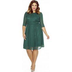 Sukienki: Zielona Wizytowa Sukienka z Zakładkami przy Dekolcie PLUS SIZE