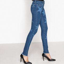 Jeansy slim. Szare jeansy damskie marki La Redoute Collections, m, z bawełny, z kapturem. Za 201,56 zł.