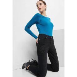 Jeansy skinny z koralikami. Czarne jeansy damskie skinny marki Orsay, xs, z bawełny, z dekoltem na plecach. Za 129,99 zł.