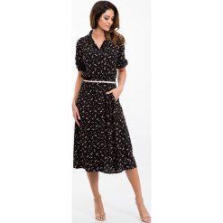 Sukienki: Czarna sukienka z paskiem 21609