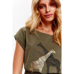 T-shirty damskie: T-SHIRT KRÓTKI RĘKAW DAMSKI, Z BŁYSZCZĄCYM NADRUKIEM
