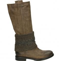 Kozaki - 10549 CRO TAU. Brązowe buty zimowe damskie Venezia, ze skóry. Za 399,00 zł.