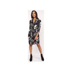 Sukienka z delikatną stójką, SUK153 ptaki. Szare sukienki z falbanami Lanti, na jesień, z tkaniny, ze stójką. Za 179,00 zł.