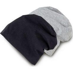 """Czapka """"Beanie"""" z dżerseju (2 szt.) bonprix czarny + szary. Czarne czapki damskie bonprix, z nadrukiem, z dżerseju. Za 17,98 zł."""