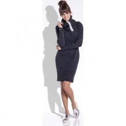 Czarna Wełniana Sukienka z Dużym Golfem. Czarne sukienki na komunię marki Molly.pl, na jesień, uniwersalny, z wełny, z golfem, dopasowane. W wyprzedaży za 85,33 zł.
