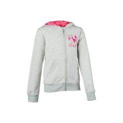 Bluza 500 Gym. Szare bluzy dziewczęce rozpinane marki DOMYOS, z elastanu, z kapturem. Za 44,99 zł.