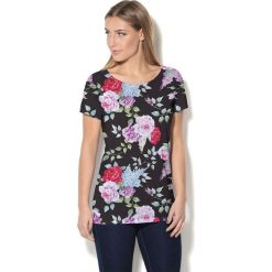 Colour Pleasure Koszulka damska CP-034 7 czarno-różowa r. M-L. Czarne bluzki damskie marki Colour pleasure, l. Za 70,35 zł.