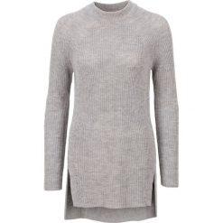 Sweter dzianinowy bonprix jasnoszary melanż. Szare swetry klasyczne damskie bonprix, z dzianiny, ze stójką. Za 89,99 zł.