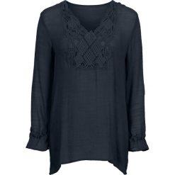 Długa bluzka bonprix ciemnoniebieski. Niebieskie bluzki asymetryczne bonprix, z aplikacjami, z długim rękawem. Za 109,99 zł.