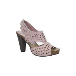 Sandały Nessi  Różowe sandały skórzane ażurowe na słupku  18343. Czerwone sandały damskie na słupku Nessi, w ażurowe wzory. Za 248,99 zł.