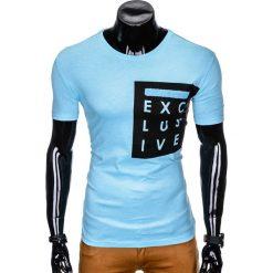 T-SHIRT MĘSKI Z NADRUKIEM S882 - BŁĘKITNY. Niebieskie t-shirty męskie z nadrukiem marki Ombre Clothing, m. Za 29,00 zł.