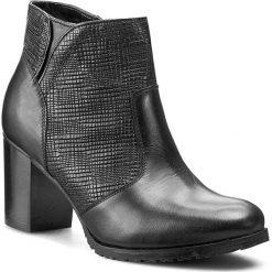 Botki EKSBUT - 65-3739-155/693-1G Czarny. Czarne buty zimowe damskie Eksbut, ze skóry, na obcasie. W wyprzedaży za 199,00 zł.