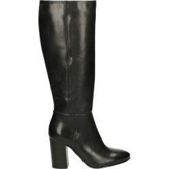 Kozaki ocieplane - WAVE2300 160N. Czarne buty zimowe damskie marki Kazar, ze skóry, na wysokim obcasie. Za 299,00 zł.