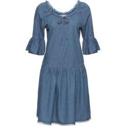 """Sukienka dżinsowa """"carmen"""" bonprix niebieski. Niebieskie sukienki bonprix, z kołnierzem typu carmen. Za 79,99 zł."""