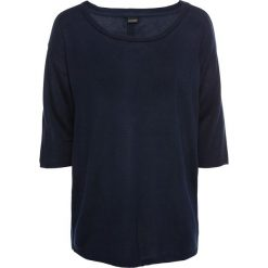 Sweter z plisą guzikową bonprix ciemnoniebieski. Niebieskie swetry klasyczne damskie bonprix. Za 59,99 zł.