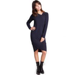 EZRA Sukienka z asymetrycznymi ściągaczami - granatowa. Szare sukienki asymetryczne marki bonprix, melanż, z dresówki, z kapturem, z długim rękawem, maxi. Za 129,99 zł.
