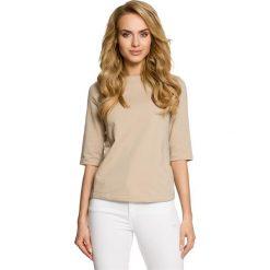 LUNA Bluzka z wiązaniem - beżowa. Brązowe bluzki z odkrytymi ramionami Moe, z dresówki, z dekoltem w łódkę. Za 109,99 zł.