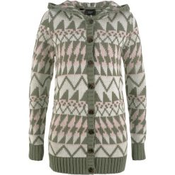 Sweter rozpinany z kapturem bonprix oliwkowy wzorzysty. Zielone kardigany damskie marki bonprix. Za 59,99 zł.