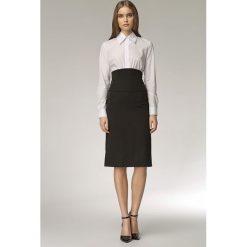 Odzież damska: Melanżowa Spódnica z Wysokim Stanem - Czarny