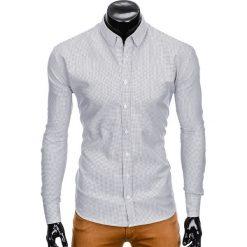 KOSZULA MĘSKA Z DŁUGIM RĘKAWEM K411 - BIAŁA/CZARNA. Białe koszule męskie na spinki Ombre Clothing, m, z kontrastowym kołnierzykiem, z długim rękawem. Za 69,00 zł.