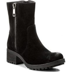 Botki NEŚCIOR - 045-L Czarny Welur. Czarne buty zimowe damskie Neścior, z materiału, na obcasie. W wyprzedaży za 279,00 zł.